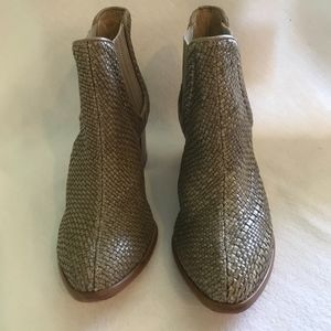 Woven leather Bootie